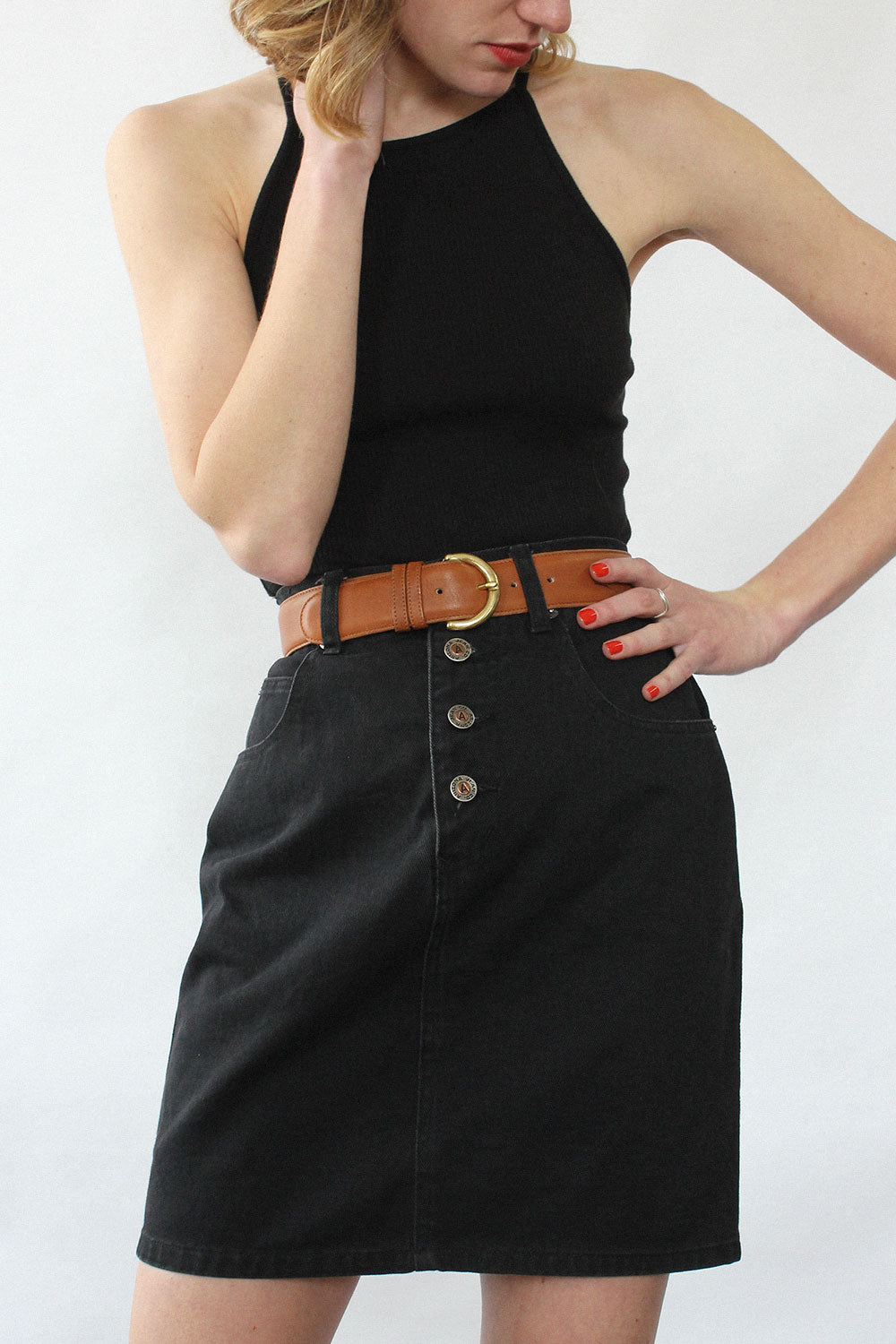 Black Denim 90s Mini Skirt S