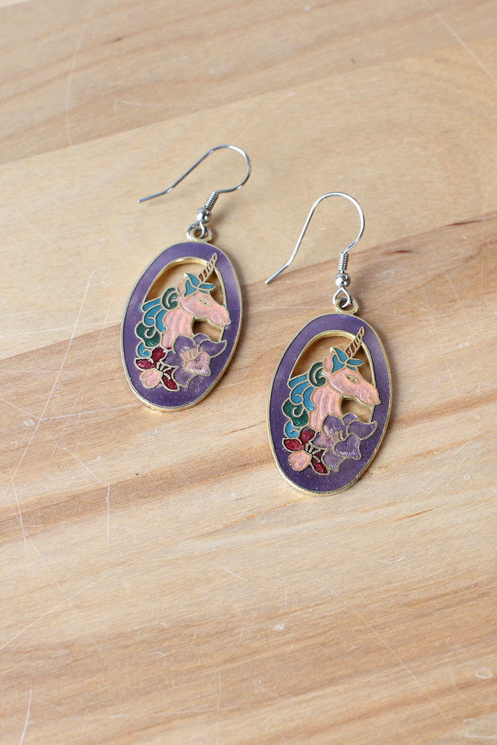 Unicorn Enamel Earrings