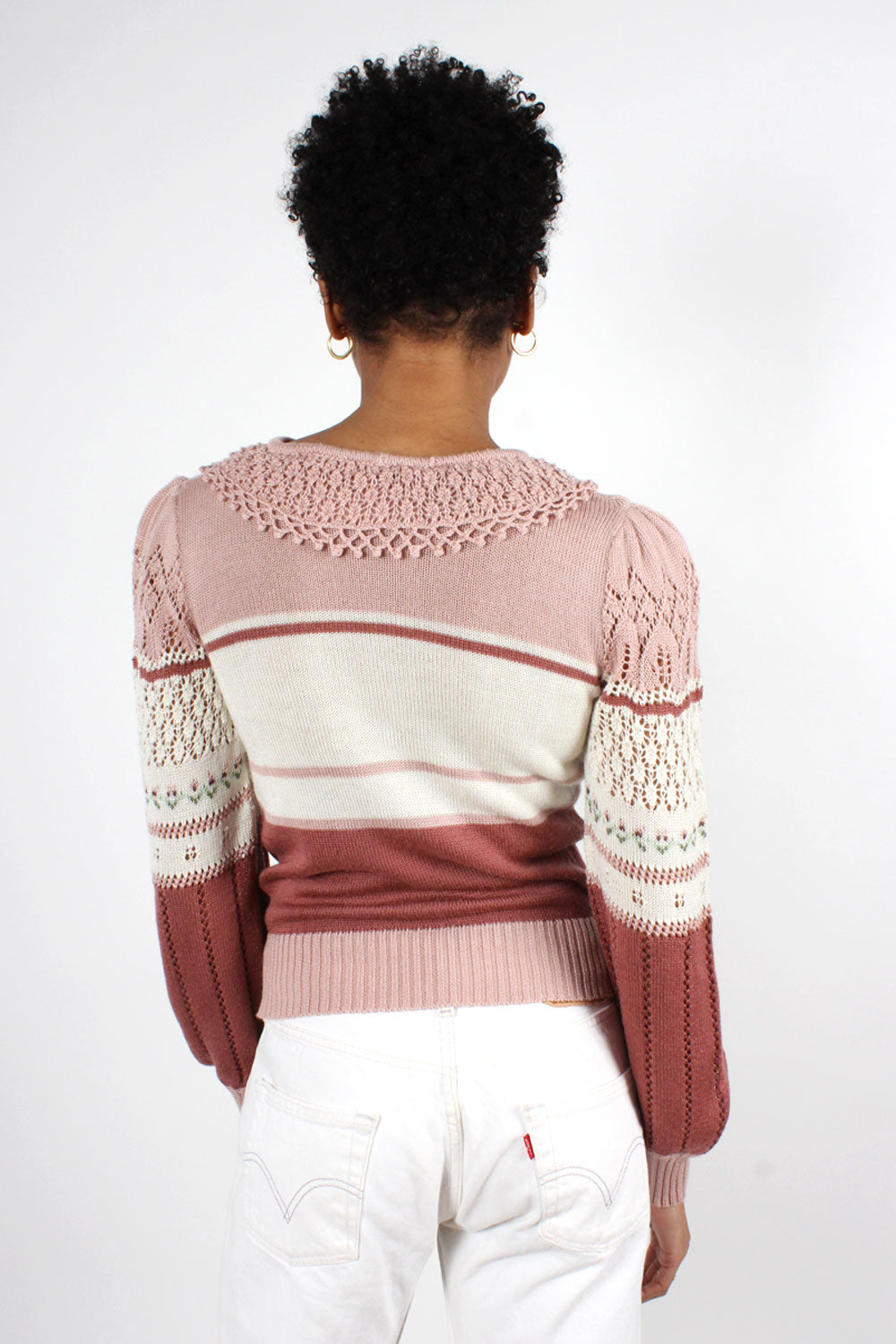 Pointelle Tulip Sweater M