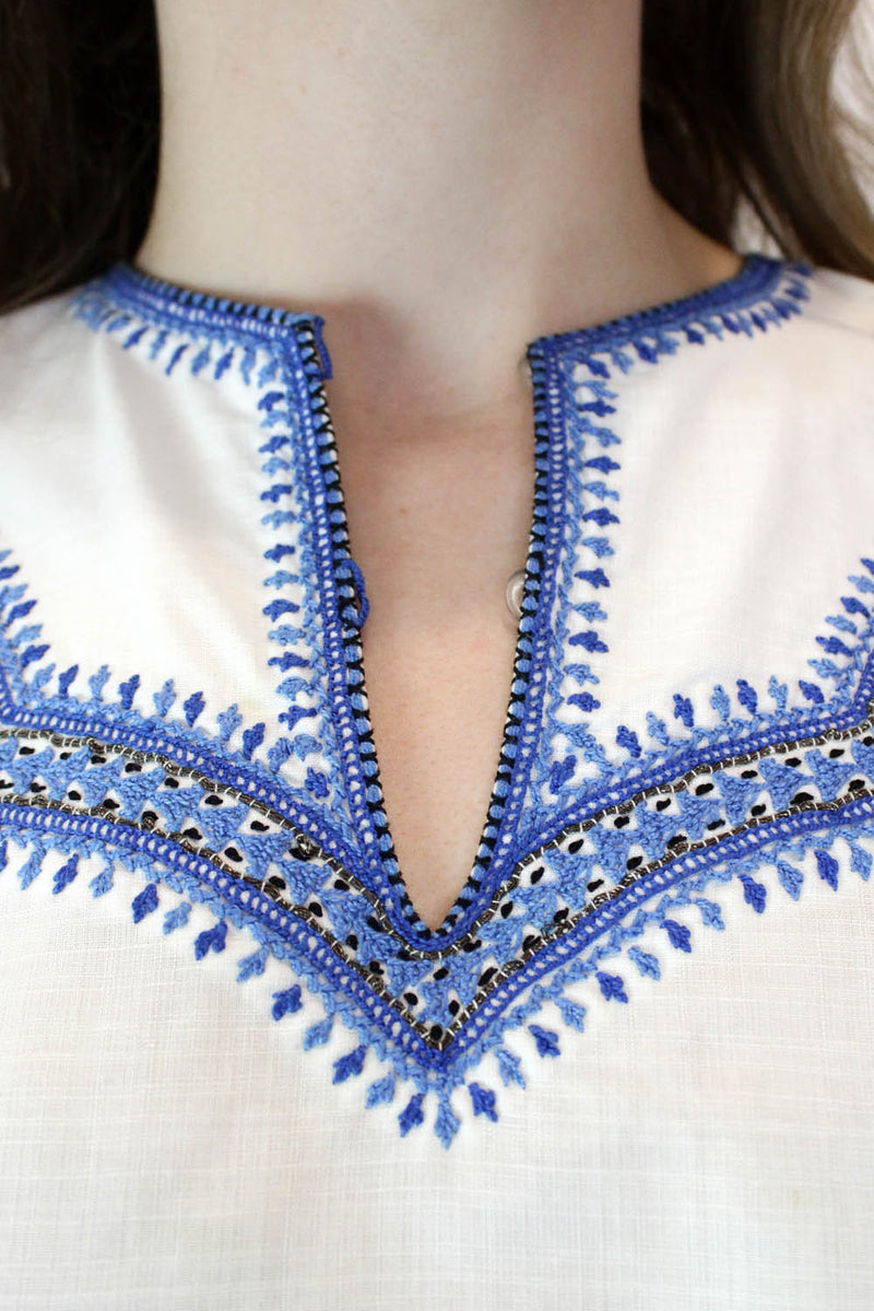60s Cross Stitch Embroidered Cotton Blouse XS/S