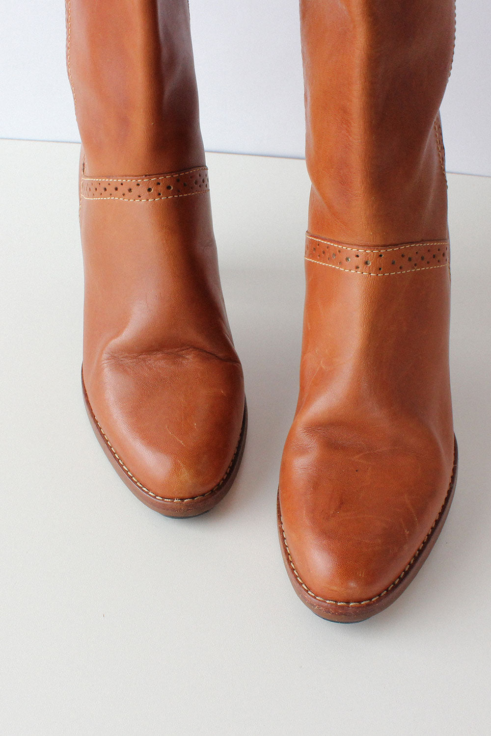 Thom McAn Chestnut Leather Boots 8 1/2 - 9