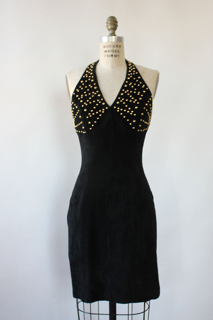 Kelly Gold Studded Sure Halter Dress S