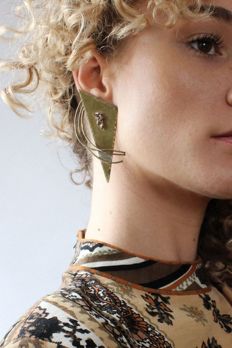 Avant Brass Statement Earrings