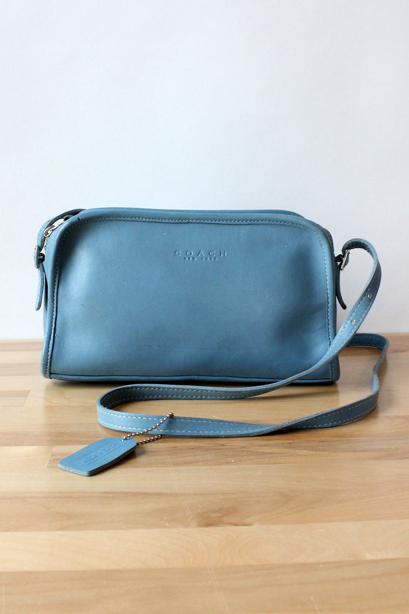 Pale Blue Leather Coach Crossbody