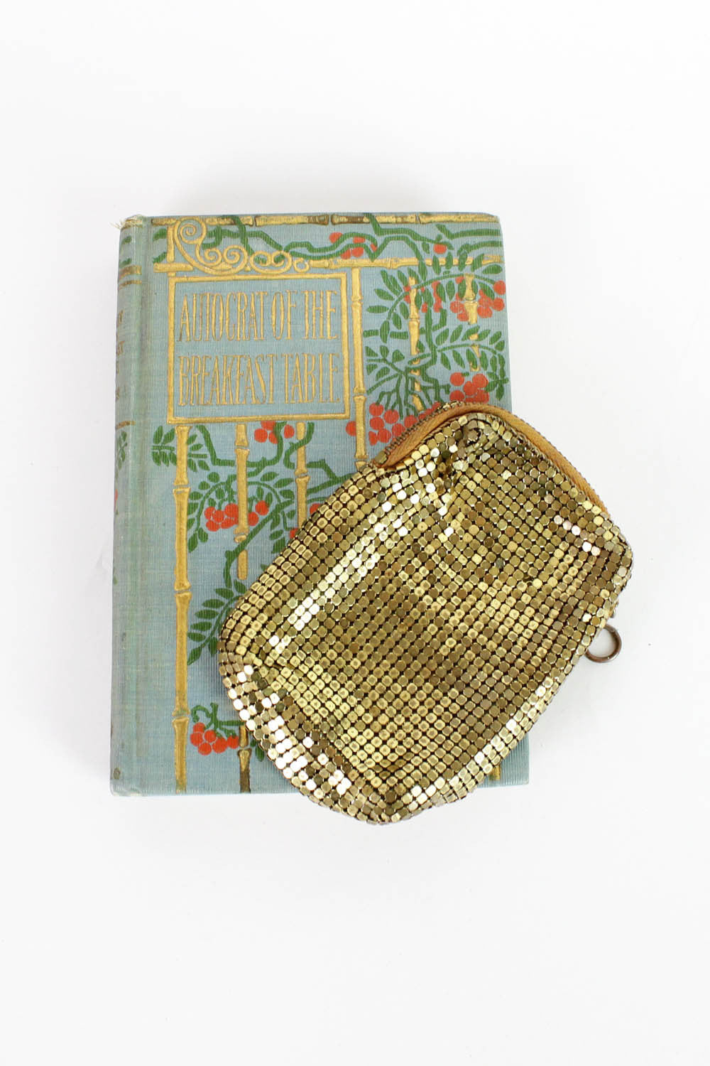 gold metal mesh pouch