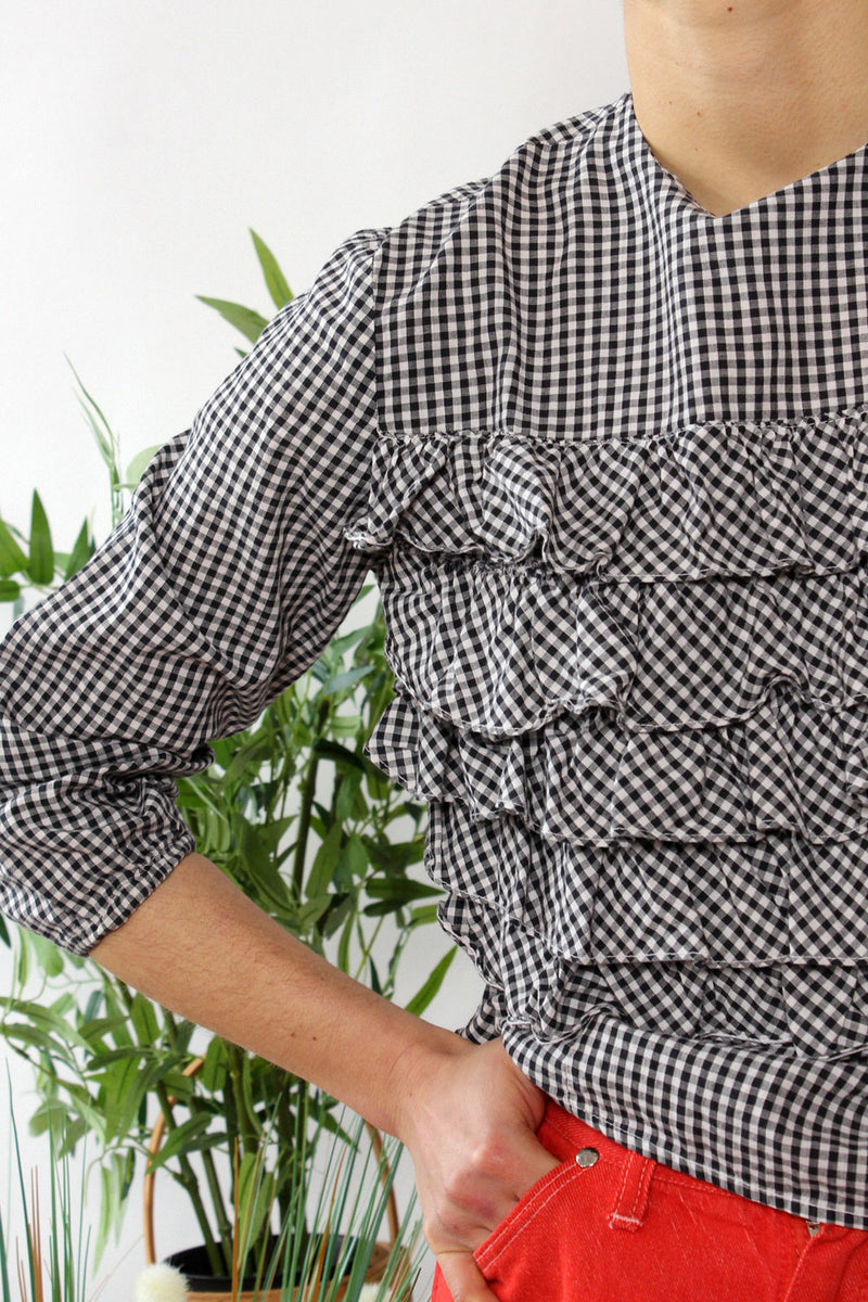 Gingham Ruffle Top S/M