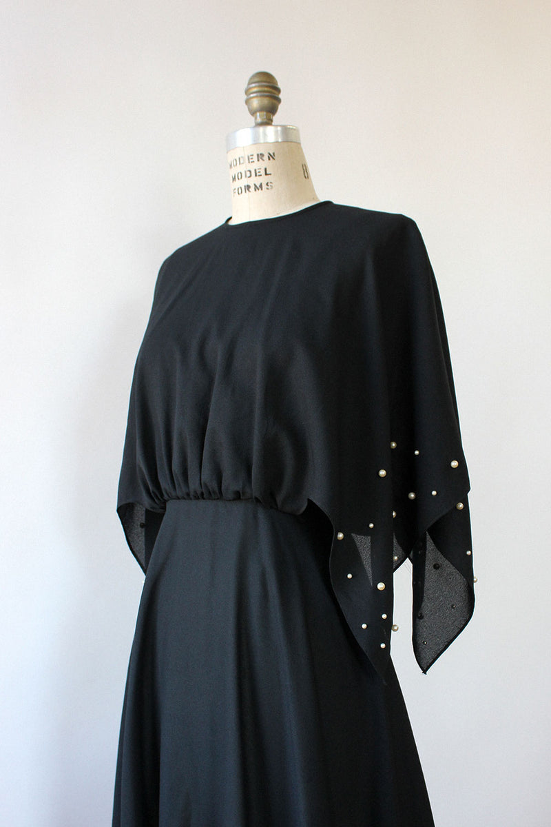 Pearly Capes Chiffon Dress S/M