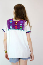 Floral Embroidered Huipil Top