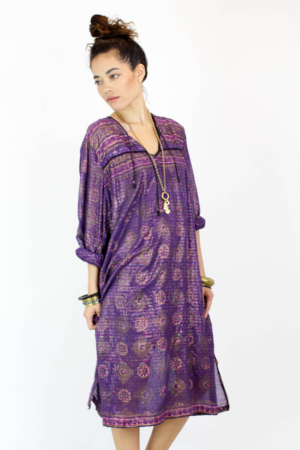 Metallic Tassel Indian Gauze Dress