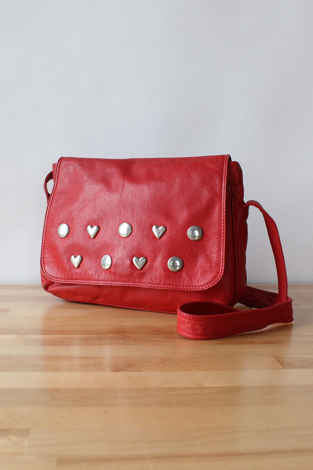 Red Hearts Leather Bag