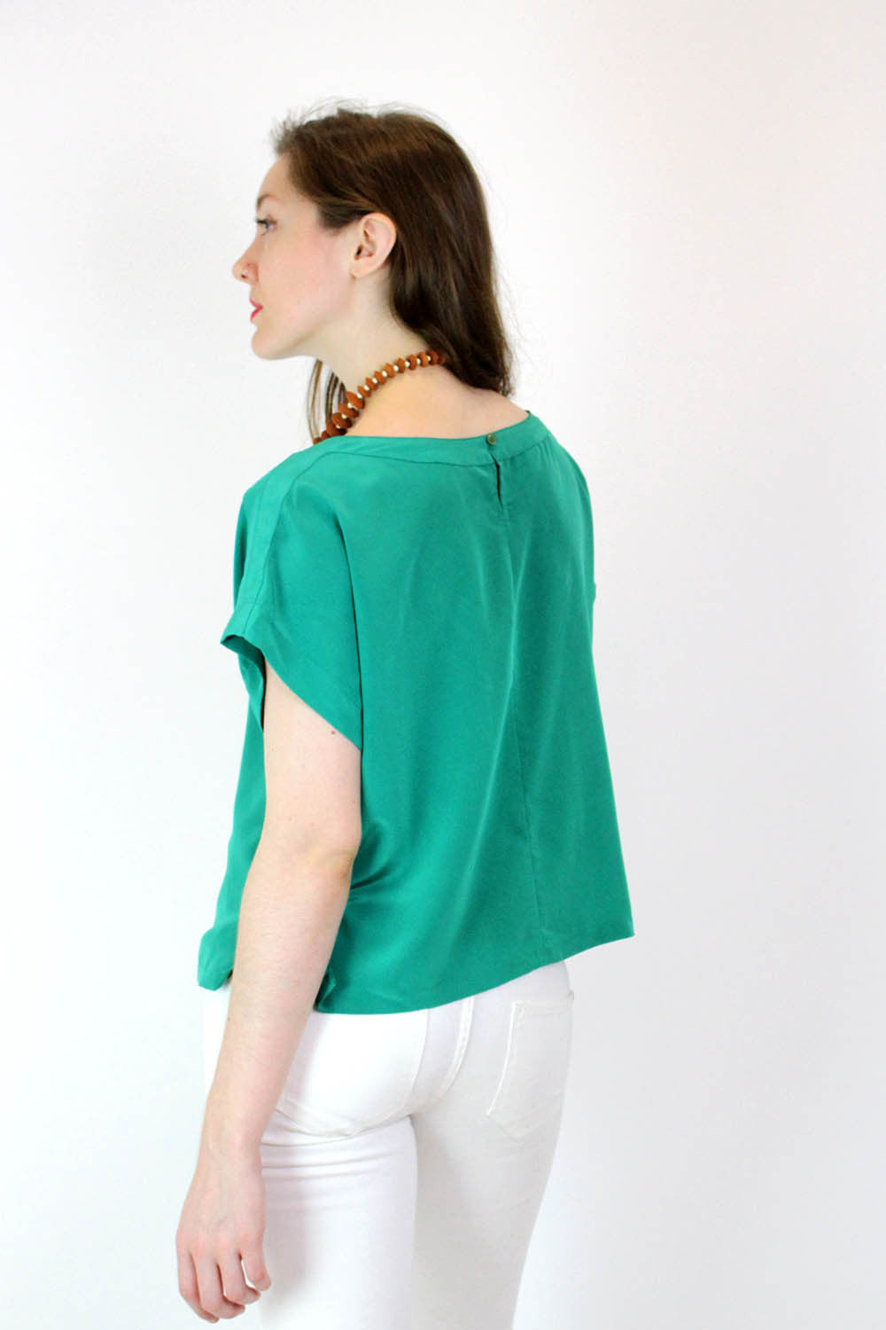 Kelly Green Silky Boxy Top M/L