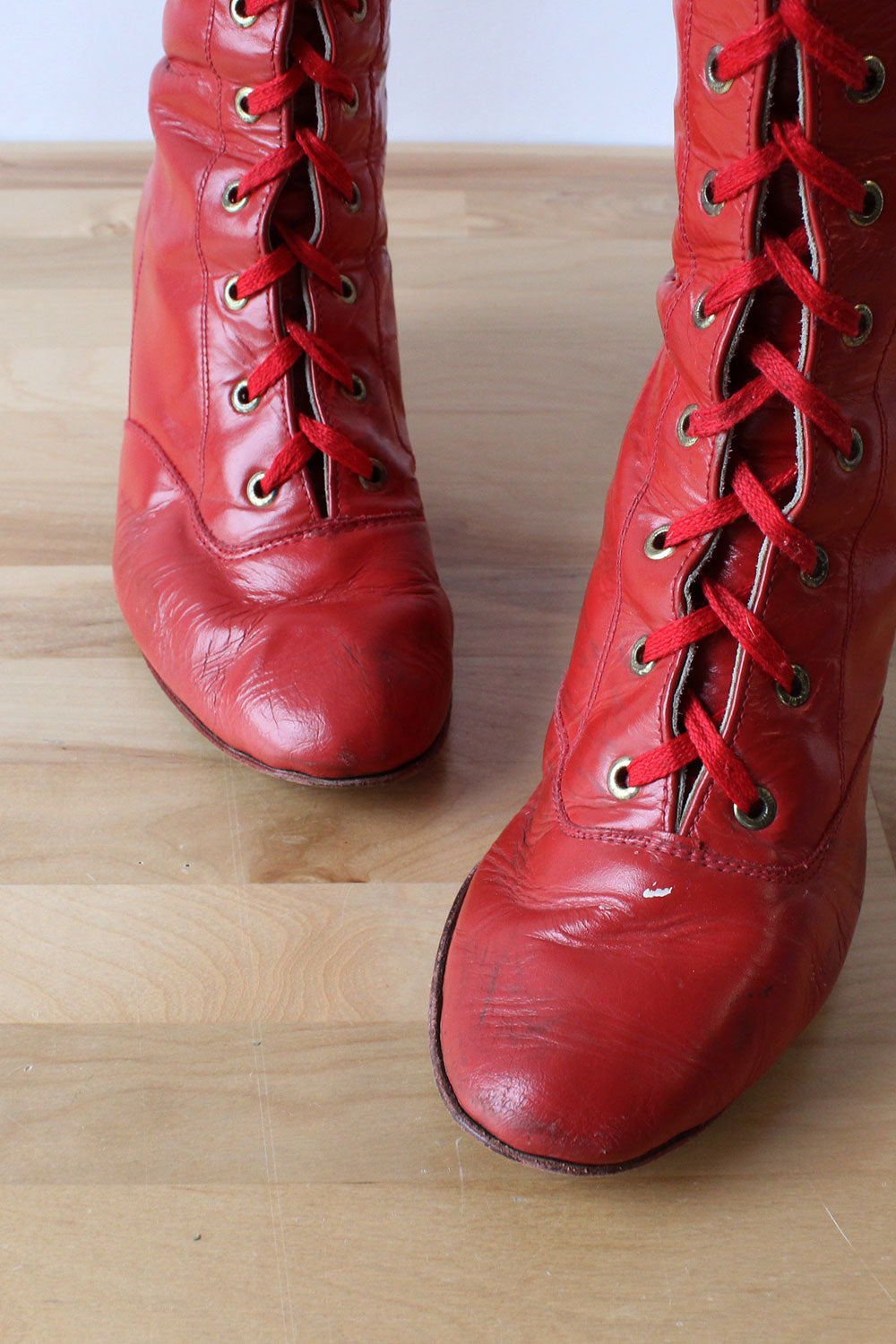 Brick Leather Lace-up Boots 8-8.5