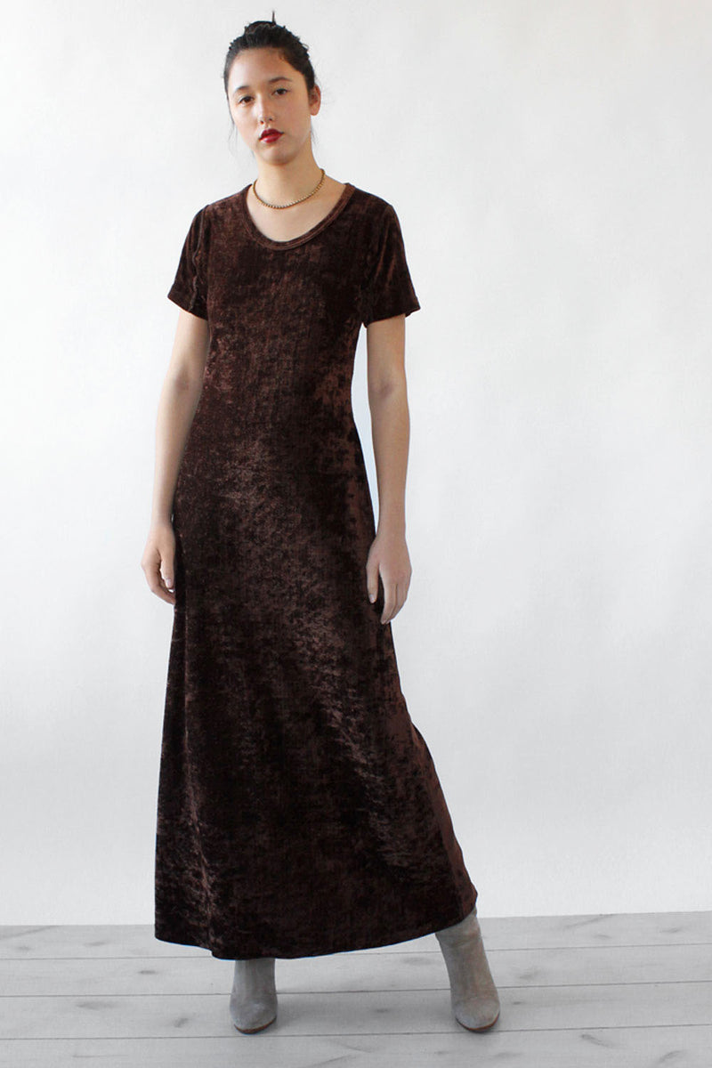 Chocolate Velour Maxi Dress S/M
