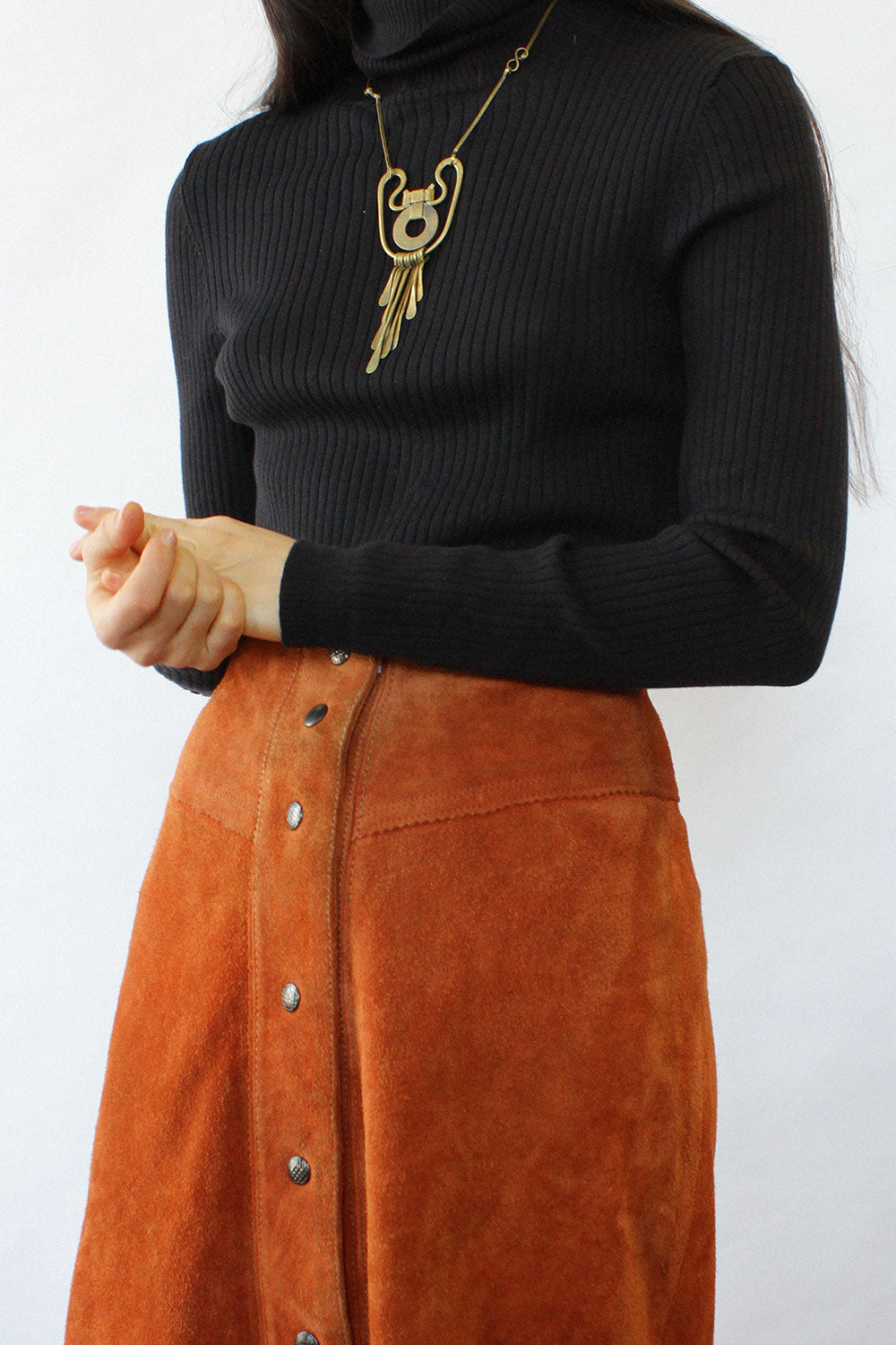 Rust Suede Snap Skirt XS