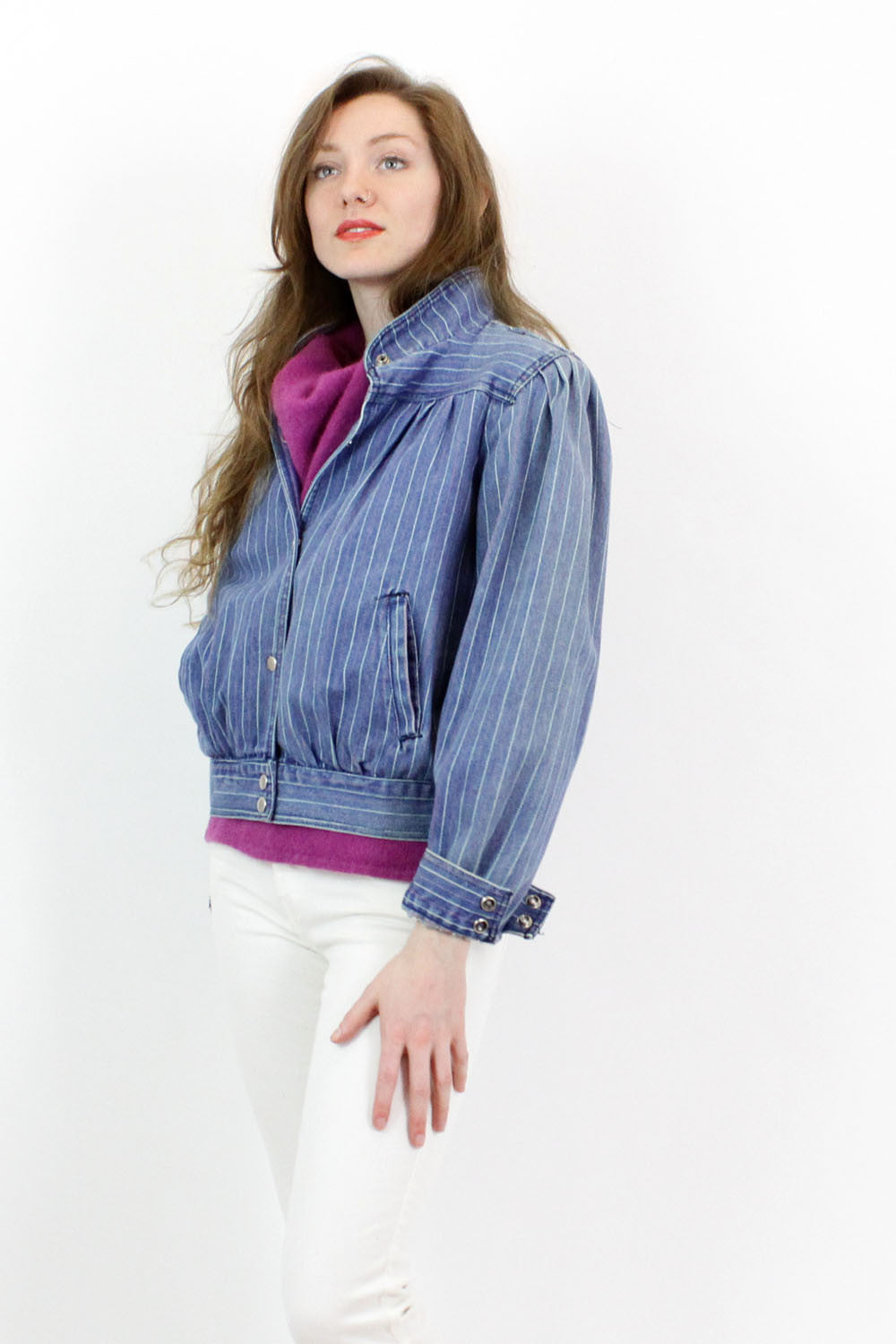 Sale / Striped Denim Jacket M