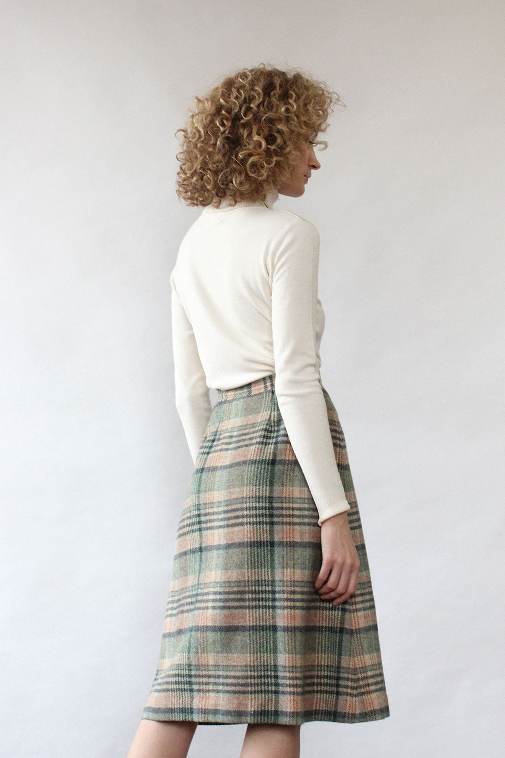 Sage Plaid Wool Skirt S