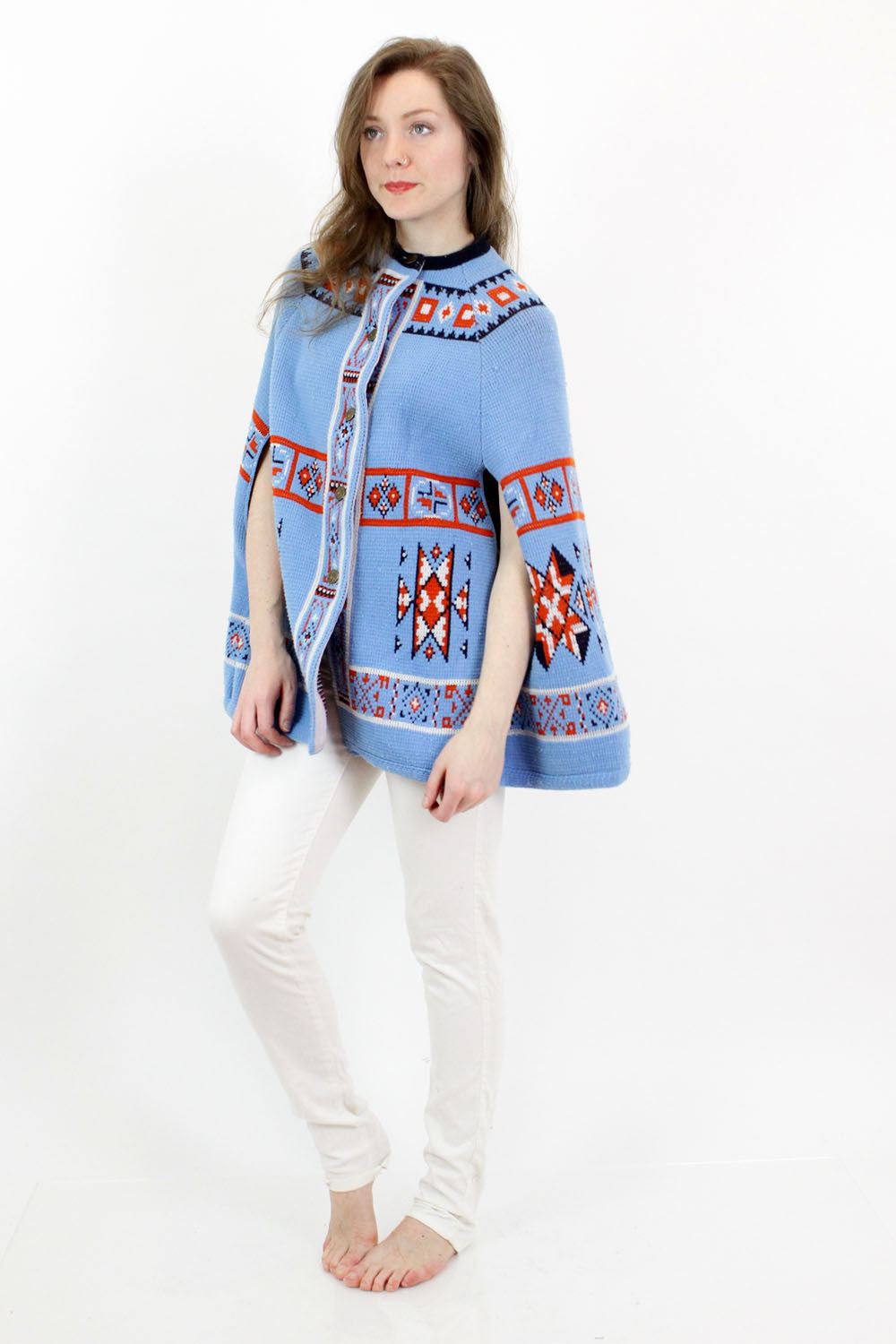 70s Native Blue Poncho