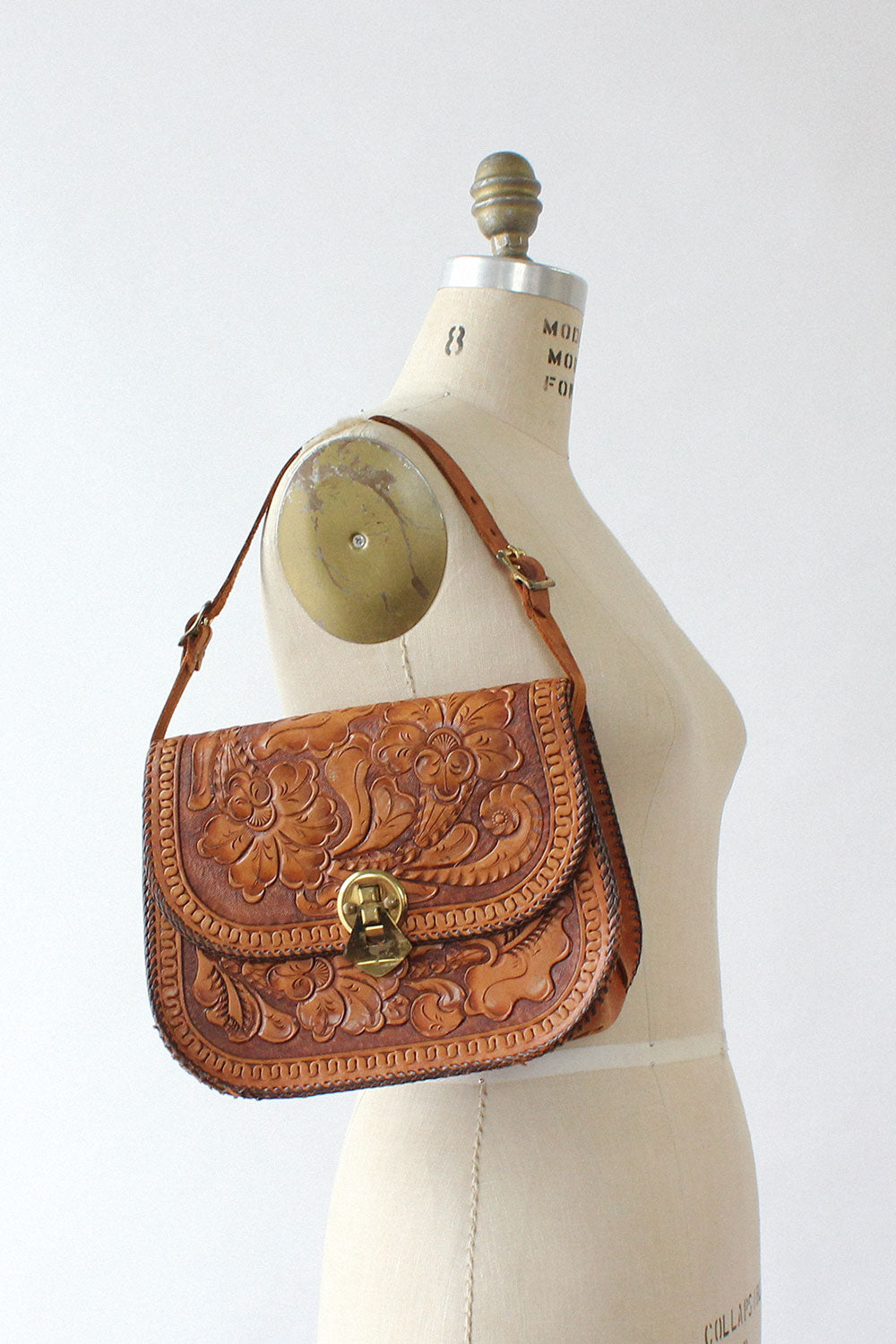 Honey Tooled Structured Purse