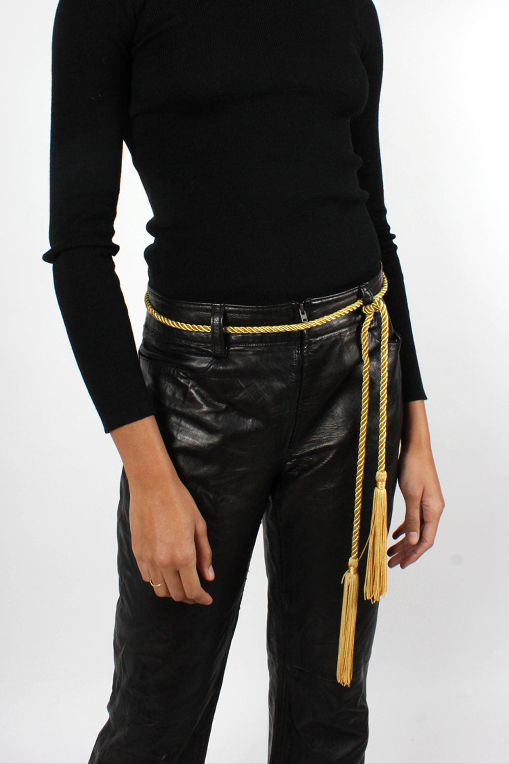 Black Leather Zip-Front Pants M