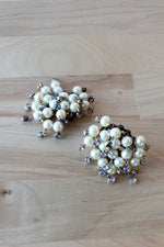Pearly Rhinestone Cluster Clip-ons