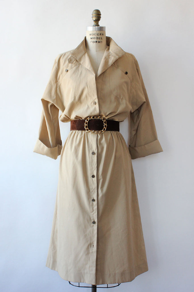 Khaki Safari Shirtdress M/L