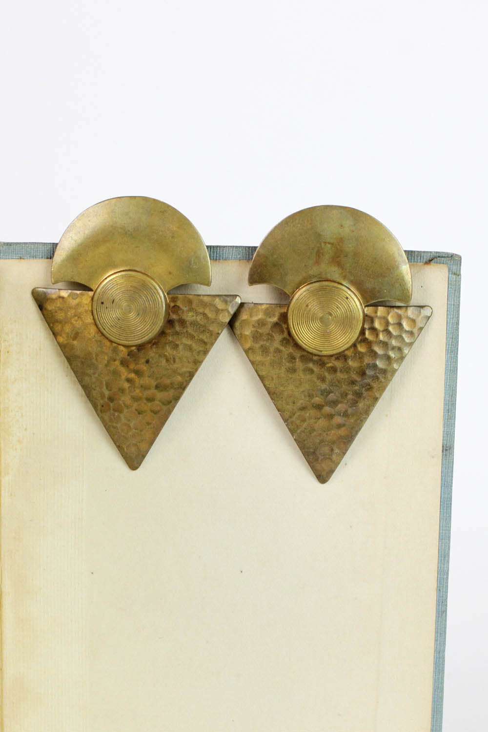 Moon Triangle Brass Earrings