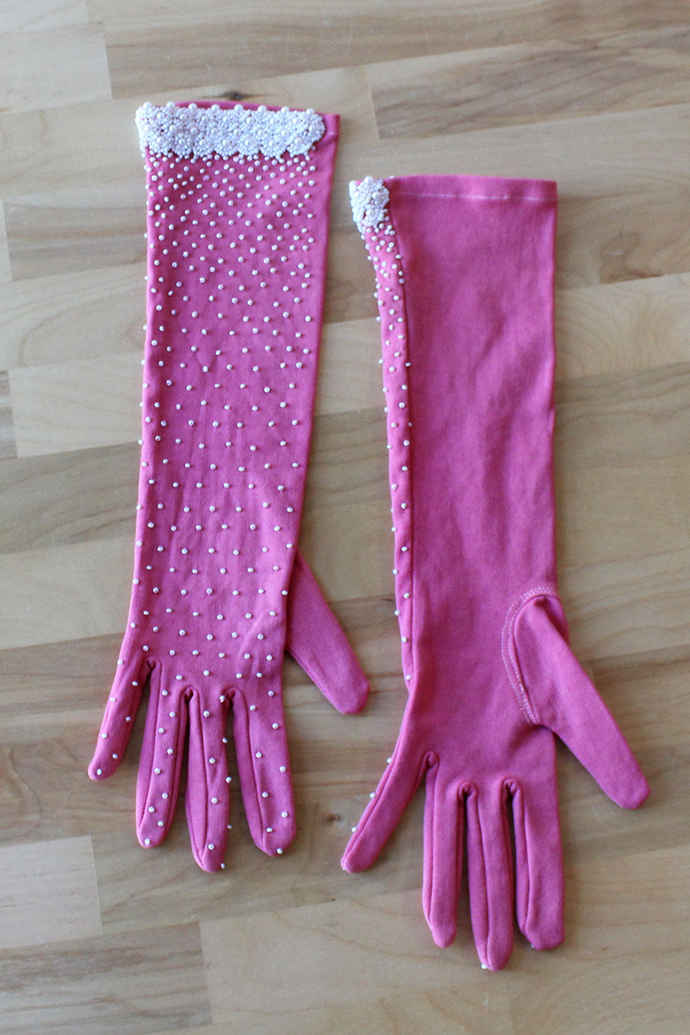 Pink Pearly Beaded Gloves