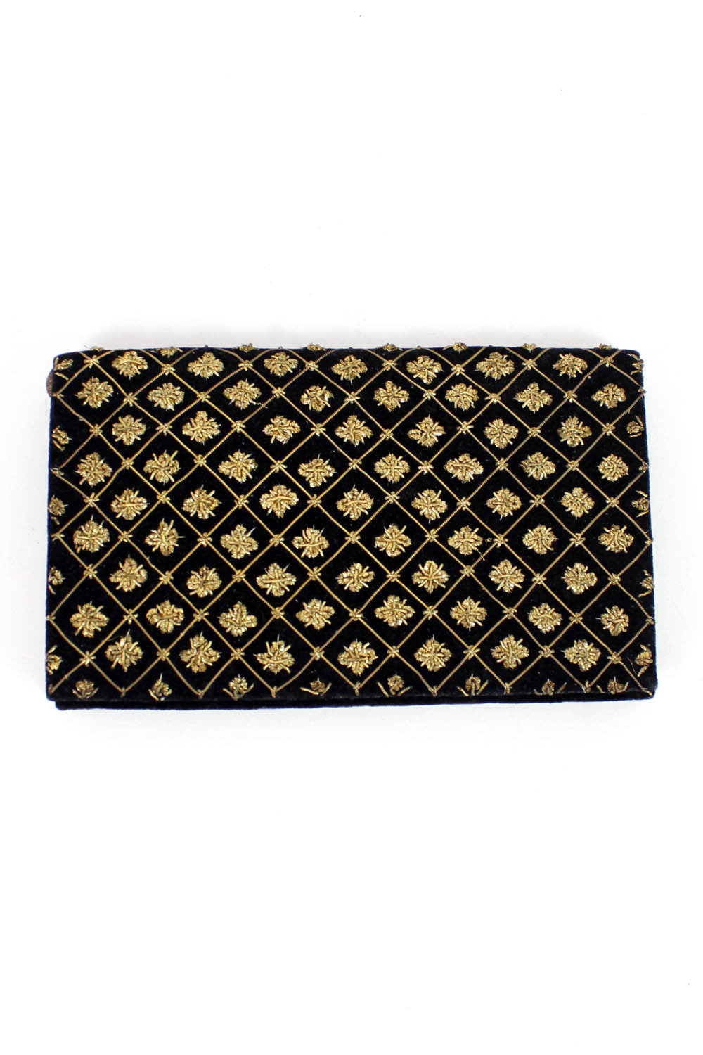 metallic velvet clutch