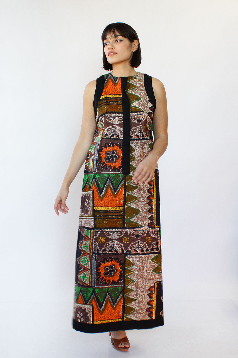 Barkcloth Maxi Dress M