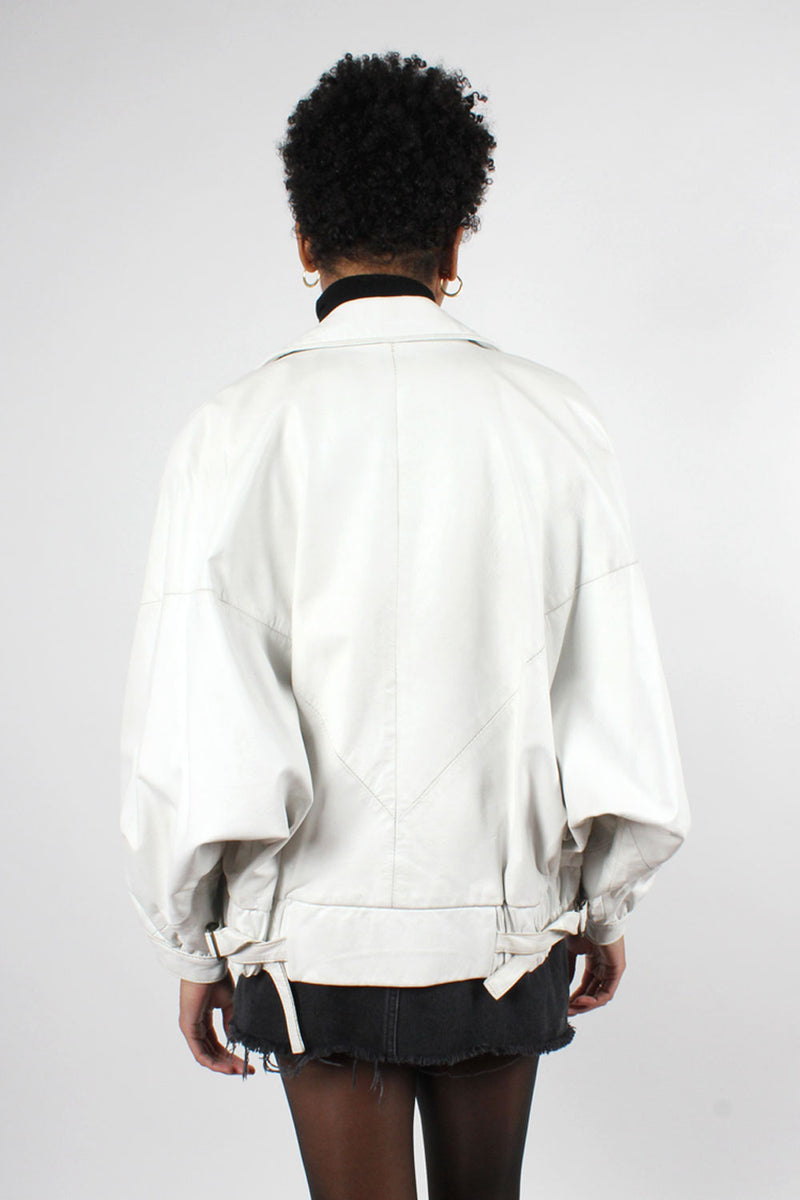 White Leather Batwing Jacket M/L