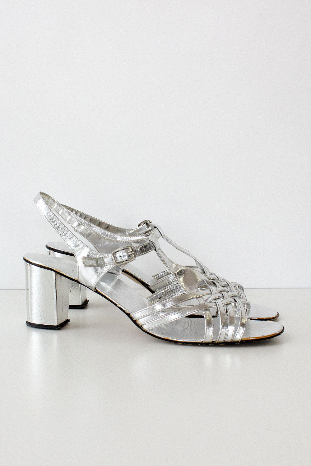 Silver Strappy Sandals 10