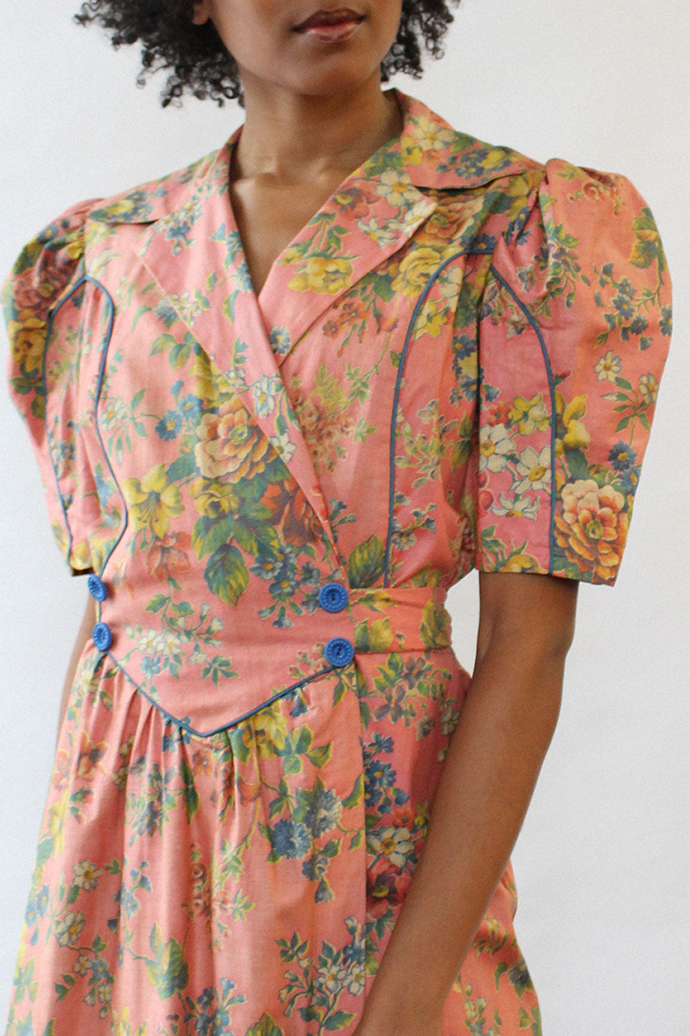 Diana Dean 1940s Floral Robe Dress M/L