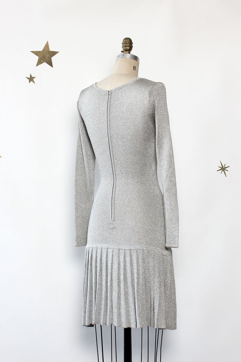 Bill Blass Silver Bells Pleat Dress XS-M