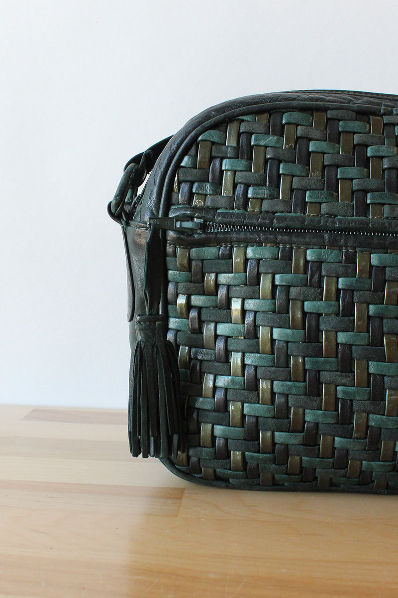 Ivy Green Woven Leather Bag