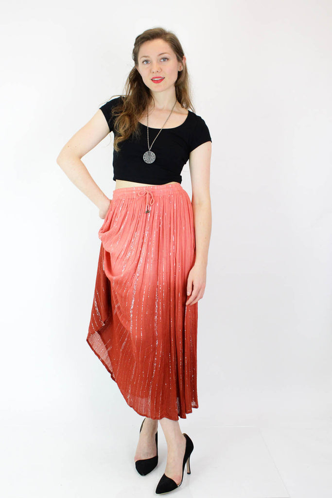 Ombre Metallic Gauze Peasant Skirt