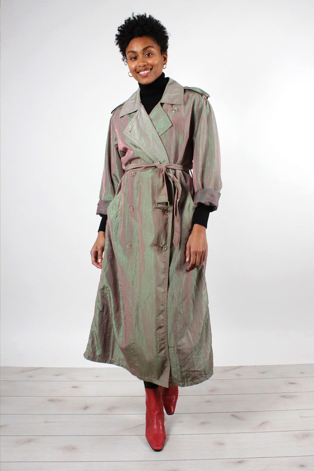 Iridescent Flowy Trench Coat S-L
