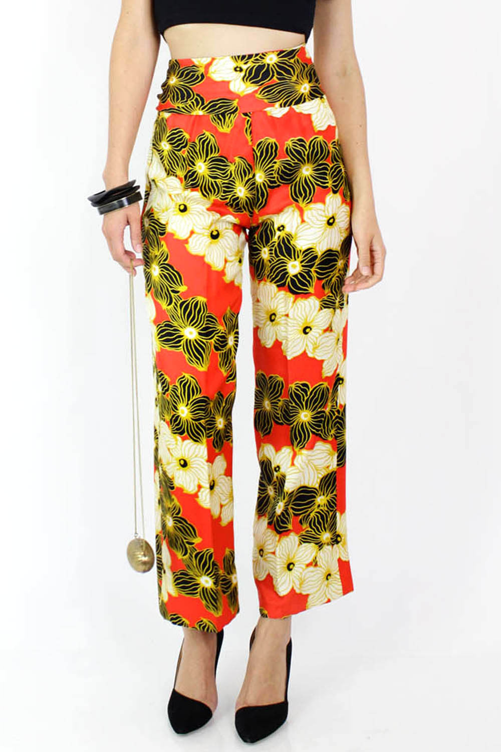 Victor Costa Silk Floral Pants S