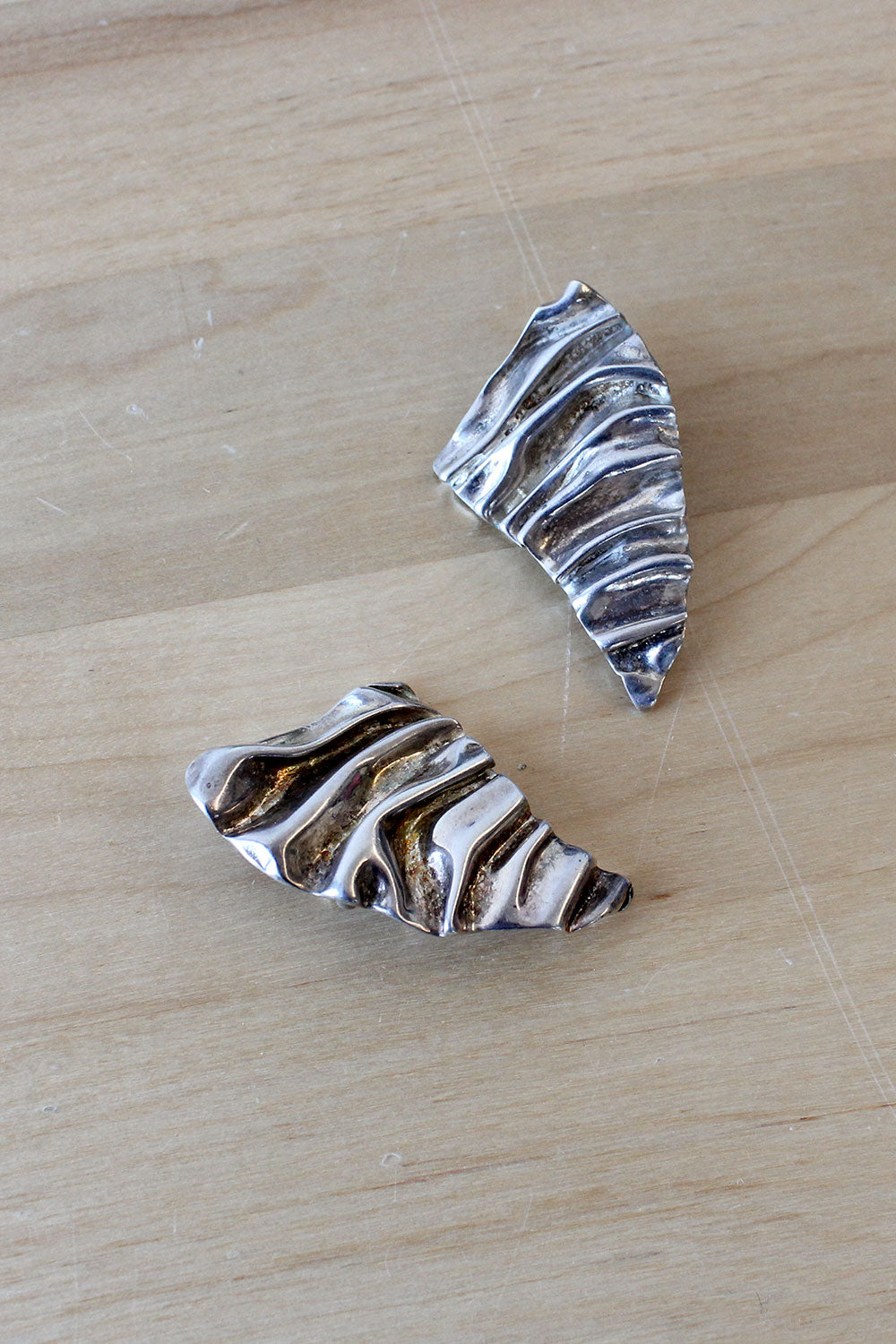 Rippled Sterling Clip-ons