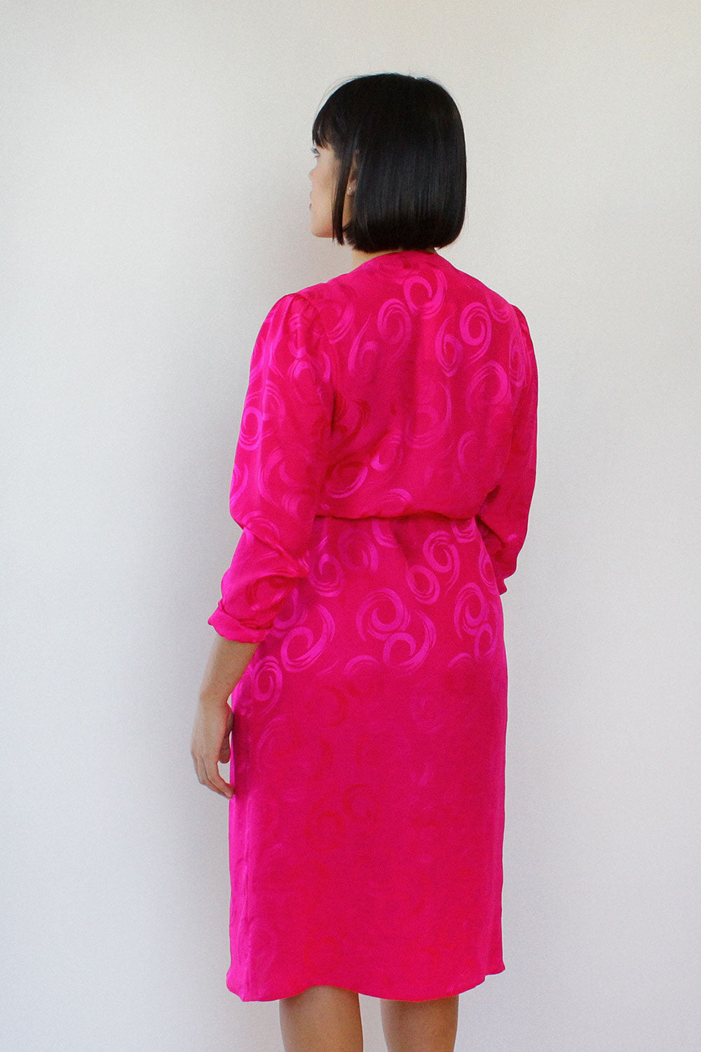 Electric Pink Silk Wrap Dress M