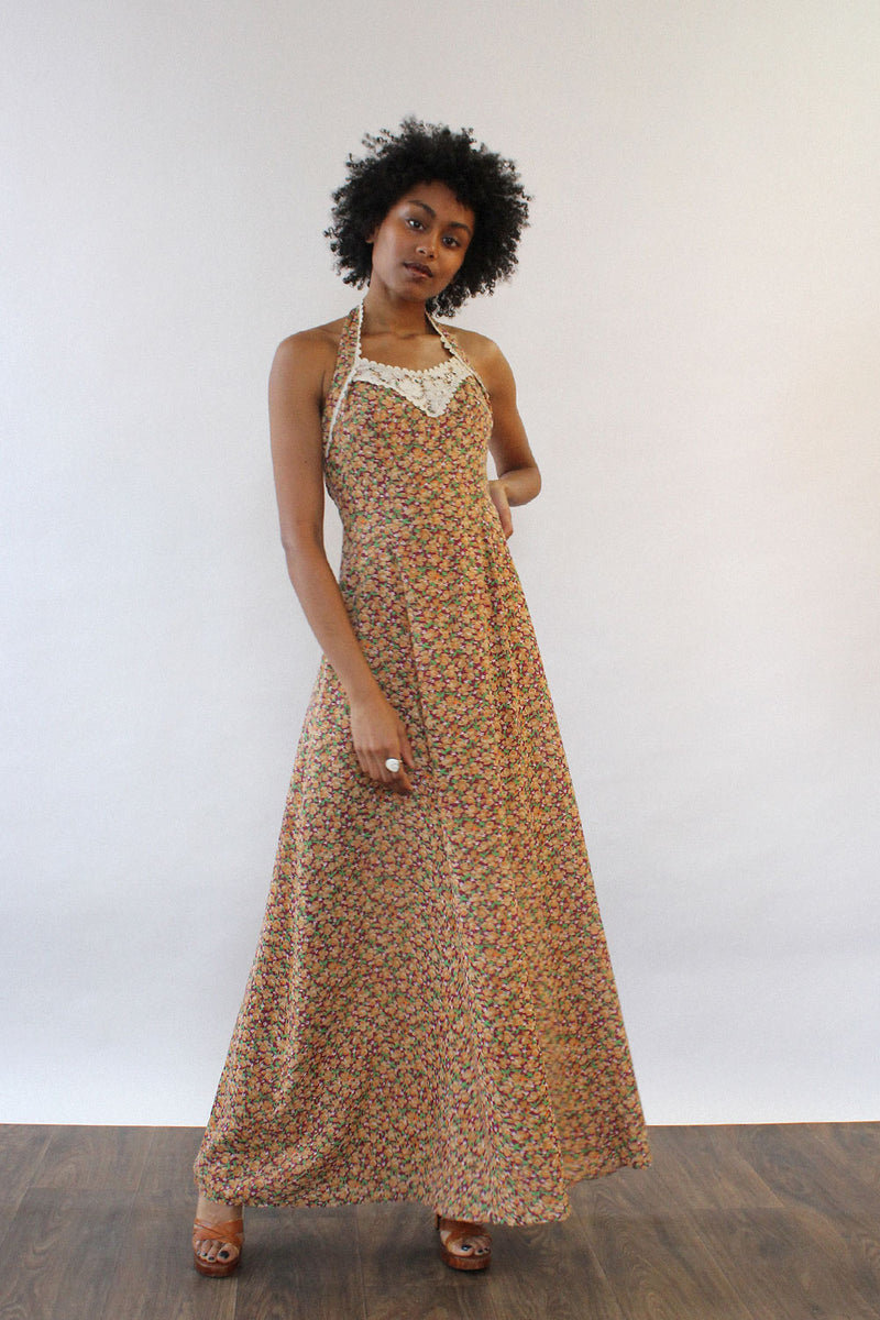 Fiona Floral Halter Maxi Dress XS/S