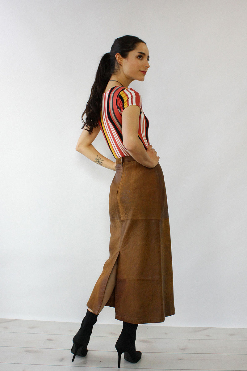Buttery Brown Leather Skirt XS