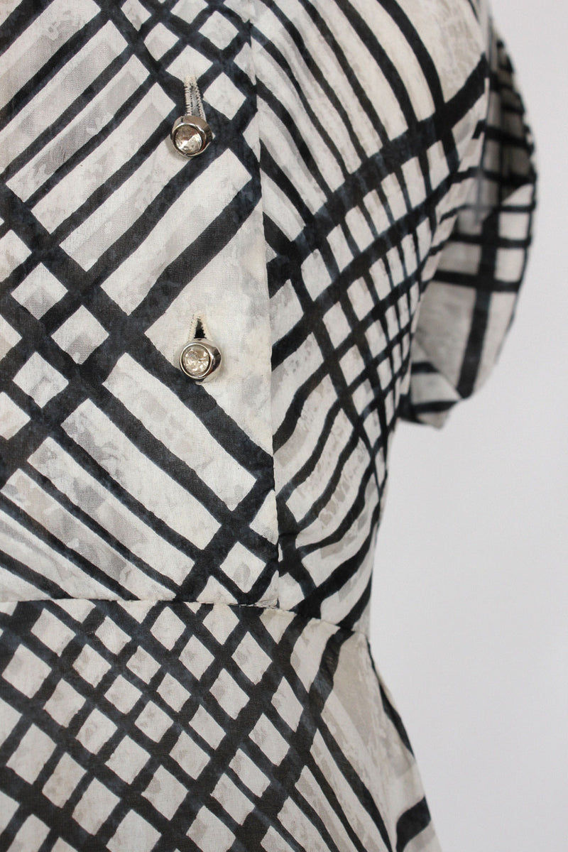 1950s Plaid Silk Flare Dress XS