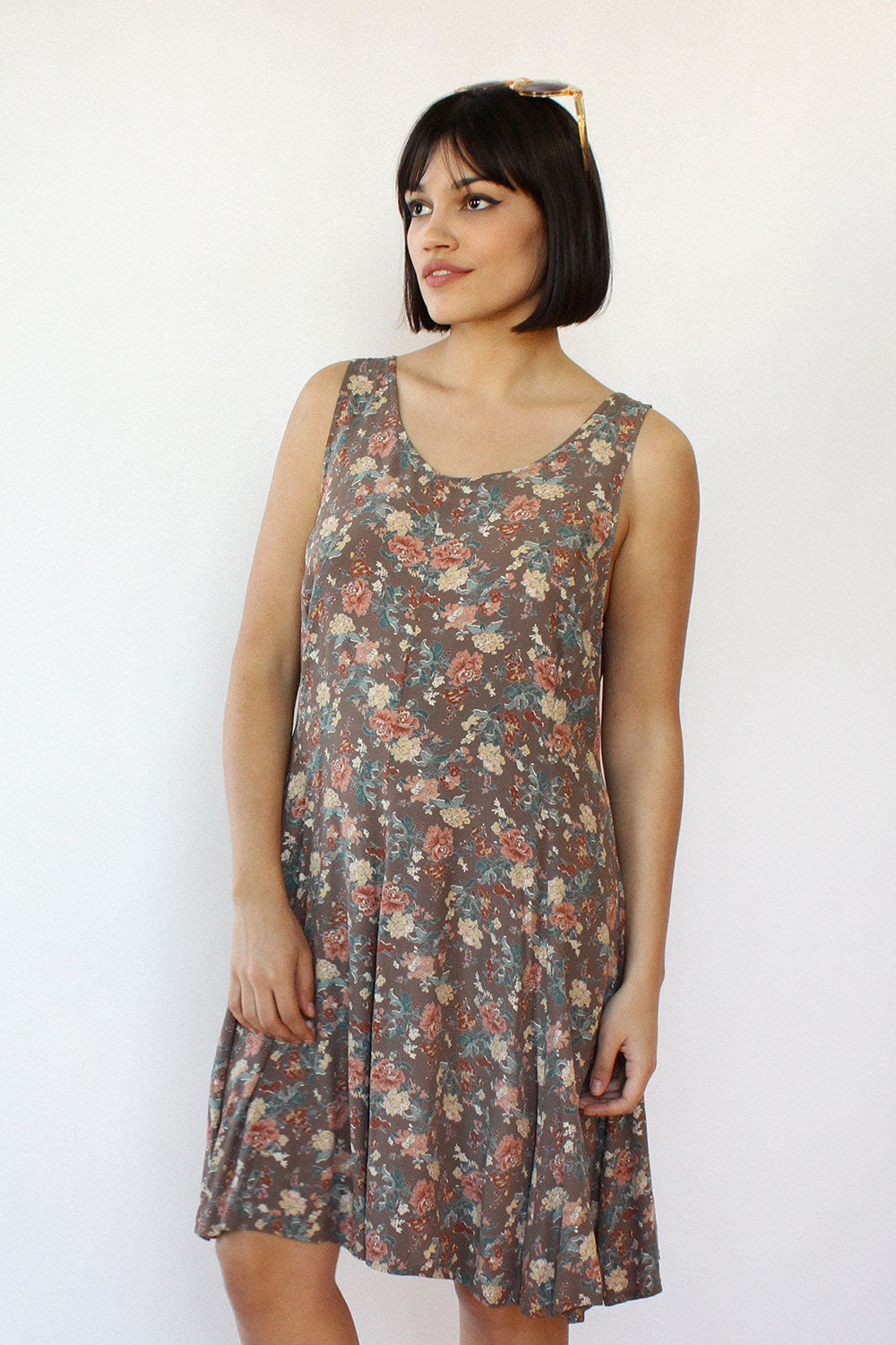 Earthy Floral Swing Dress