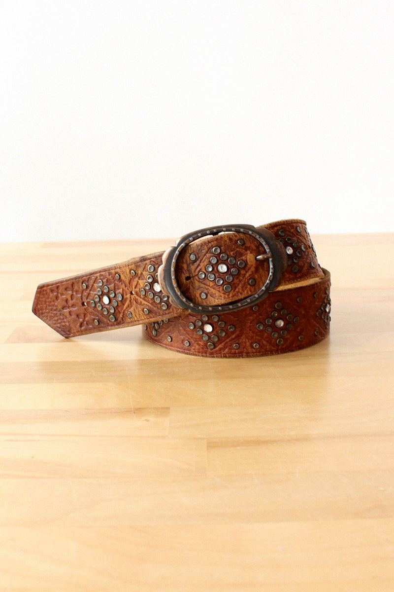 Studded Rhinsetone Leather Belt