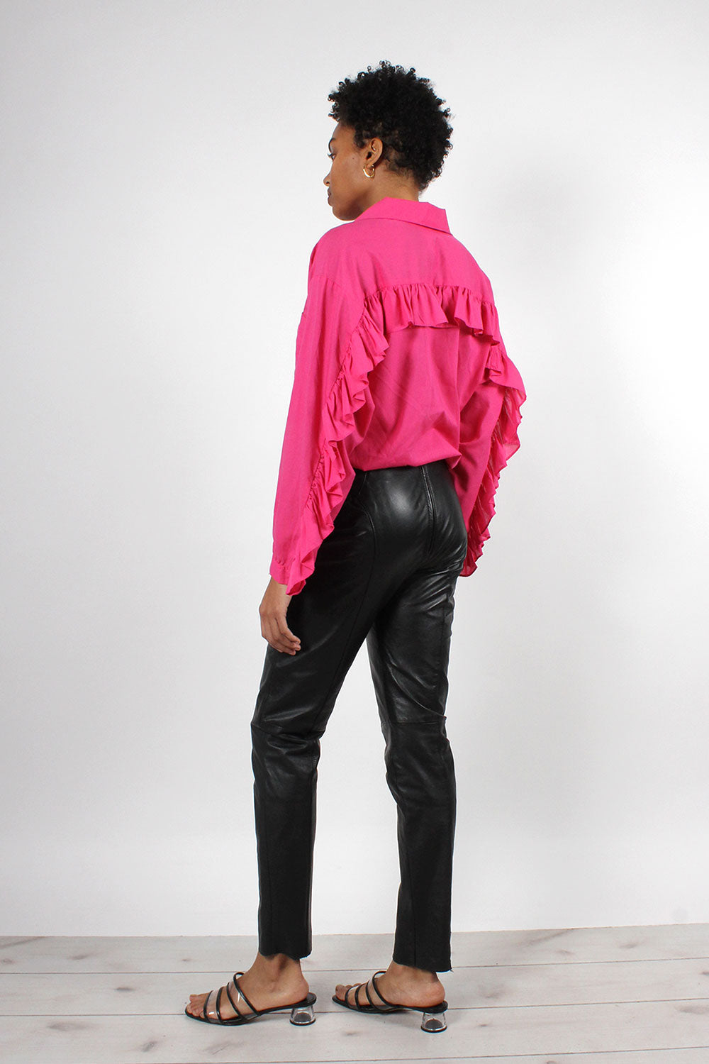Black Leather Zip-Back Pants S/M