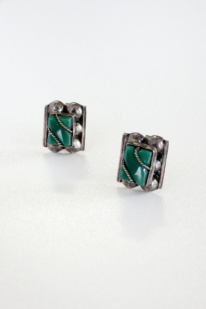 Jade Glass Screw-Back Earrings