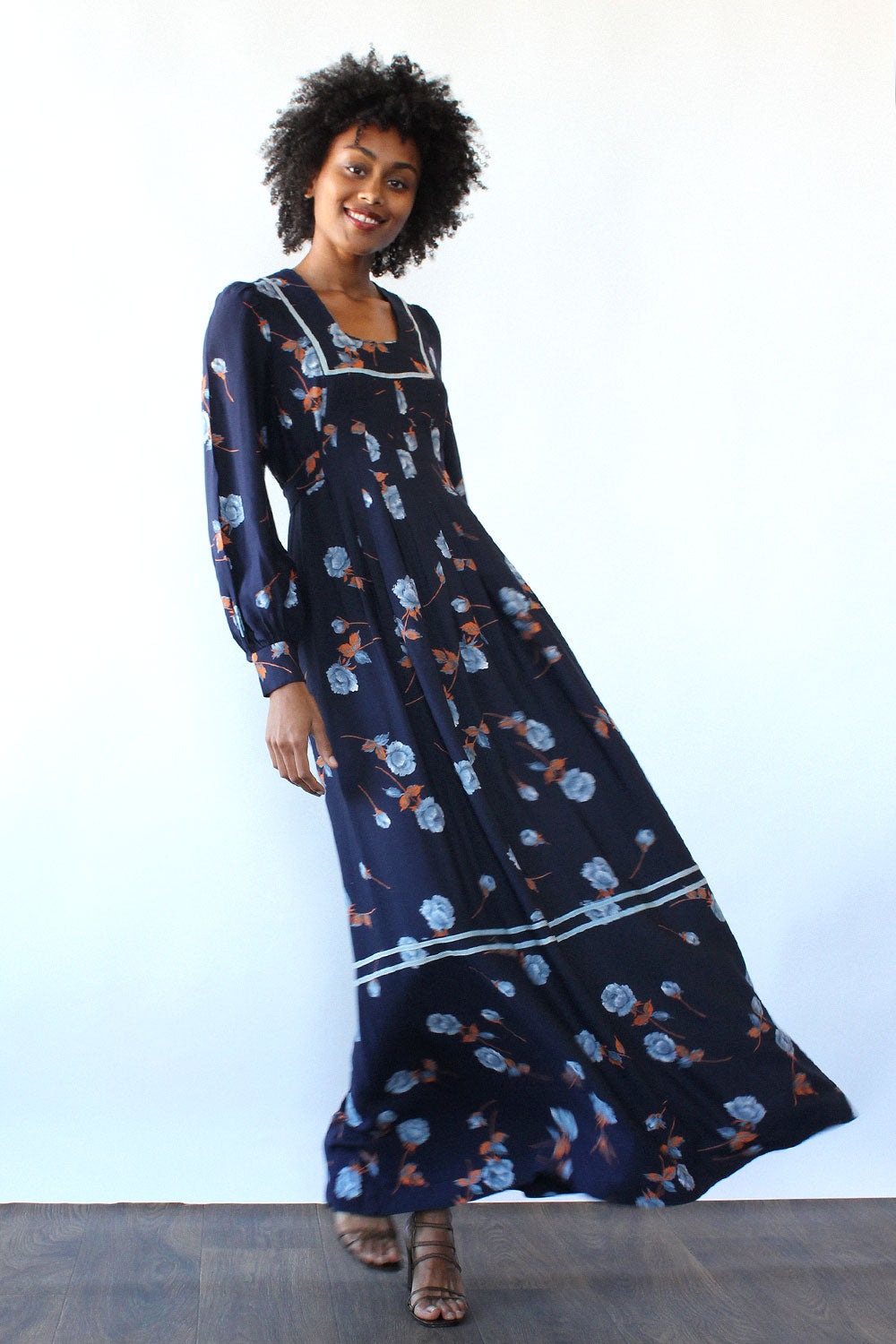 Navy Rose Maxi Dress XS/S