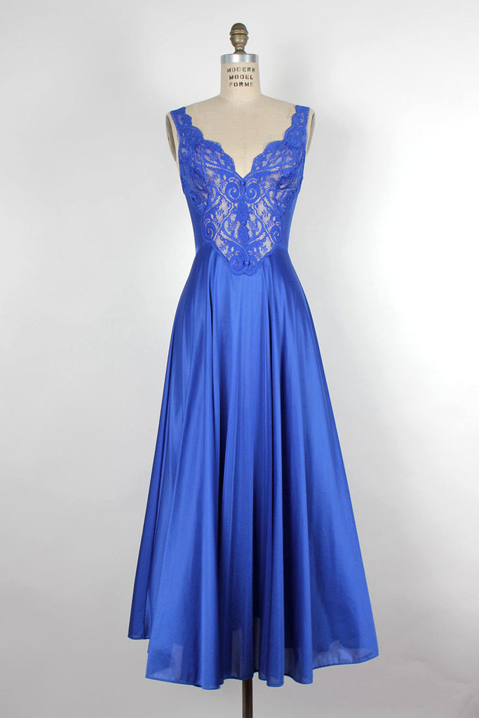 Cobalt Lace Flare Nightgown S/M