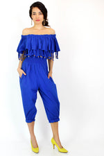 blue cotton jumpsuit