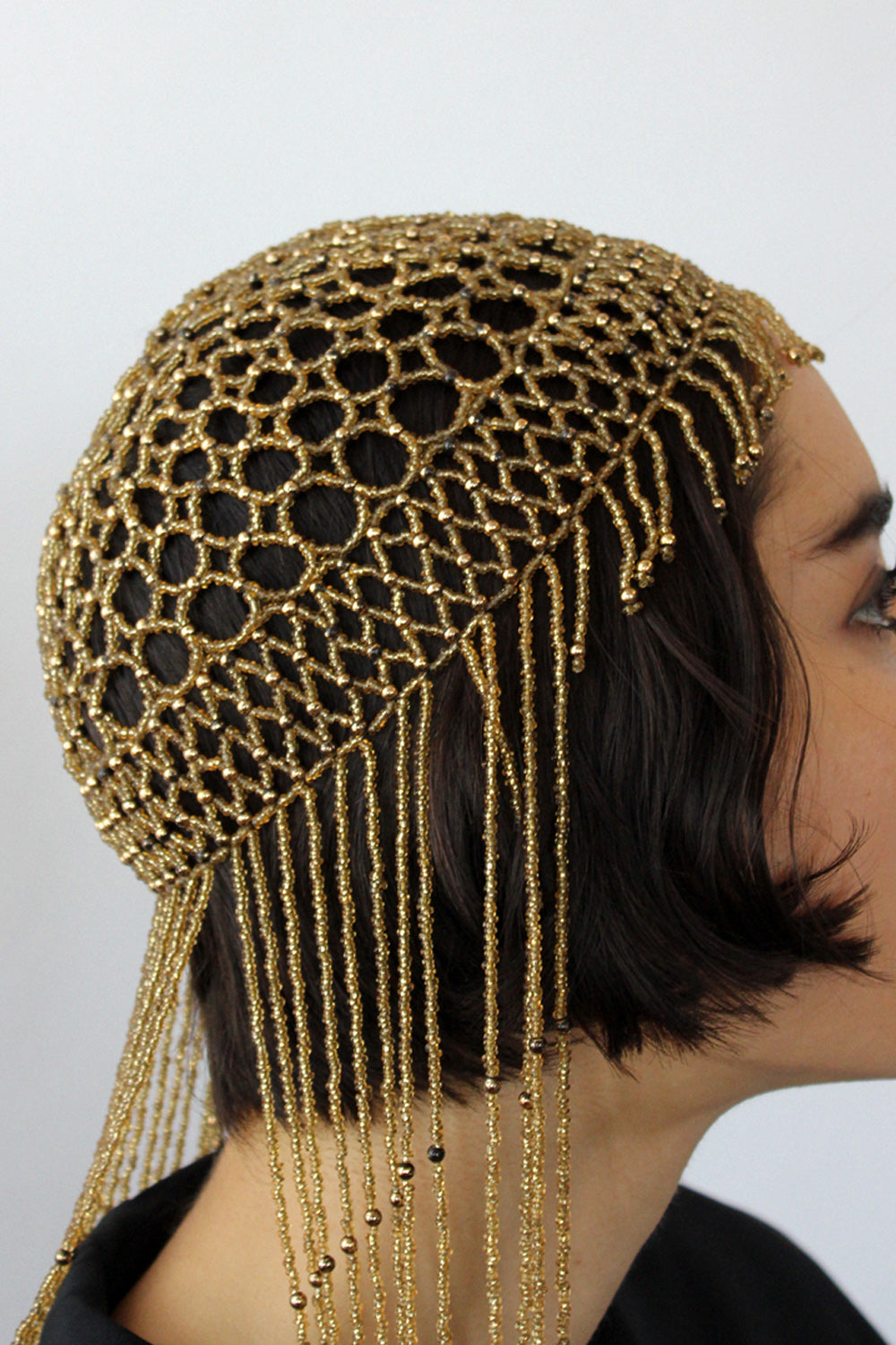 Golden Beaded Fringe Headpiece